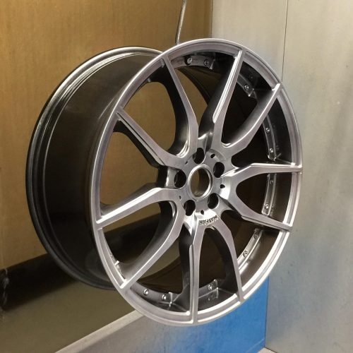 Wheel after final lacquer coat has been applied