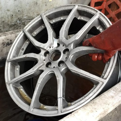 Chemically stripped, before wheel goes into tank